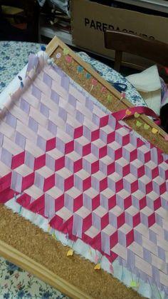 weaving fabric into blocks