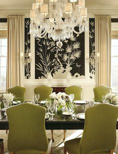 A Hollywood Regency Style Inspired Media Room - laurel home | dining room by Miles Redd with Chinoiserie wallpaper