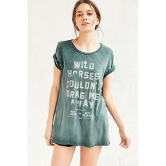 Lyric Culture Wild Horses Tee (120 RON) ❤ liked on Polyvore featuring tops, t-shirts, green, rock tees, vintage style t shirts, long length t shirts, rock tops and green tee