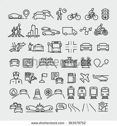 Traffic vector line icons set  - stock vector