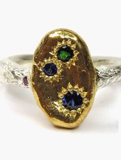 Katherine Bowman - Sterling silver with yellow gold plate Journey Keepsake Protection ring set with sapphires, tourmaline and ruby.