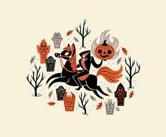 halloween illustration 10 Spooky Designs to Get Yo - halloween Retro Halloween, Spooky Halloween, Halloween Themes, Halloween Crafts, Halloween Designs, Sleepy Hollow Halloween, Halloween Table, Halloween Stickers, Halloween Illustration