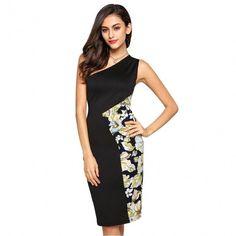 Ladies Sexy Single Shoulder Splicing Print Slim Bodycon Knee Length Pencil Dress