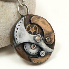 Steampunk Charm in Polymer Clay w/Watch Gear in Metallic Gold, Silver | DesertRubble - Jewelry on ArtFire