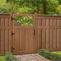 Out of all the cedar fence gate designs out there, this gorgeous, rustic wooden fence is the perfect touch as an entranceway to the garden! Fence gate ideas and design. Diy Privacy Fence, Privacy Fence Designs, Backyard Privacy, Privacy Screens, Diy Fence, Fence Gate Design, Garden Privacy, Wooden Garden Gate, Garden Gates