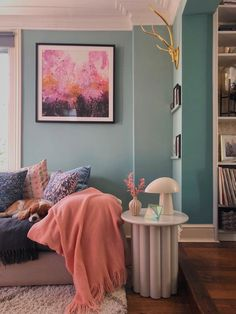 My living room painted in Farrow and Ball Dix Blue. Living room ideas and inspiration. Blue Wall Colors, Bedroom Wall Colors, Room Paint Colors, Paint Colors For Living Room, Living Room Decor Blue Walls, Best Colour For Bedroom, Color Walls, Pastel Living Room, Colourful Living Room