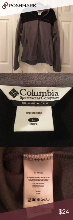 Men's Columbia size Large fleece Men's Columbia fleece jacket in size Large.  Gray with black accents.  100% polyester.  This was worn for a period of time but is in excellent used condition.  Comes from a pet free and smoke free home.  Bundle and save! Columbia Jackets & Coats Lightweight & Shirt Jackets