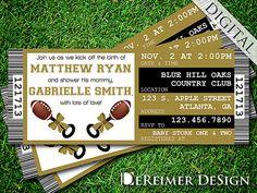 Sports Ticket Baby Boy Shower Invitation, Saints, New Orleans, Football, Gold and Black by DeReimer DeSign. $10