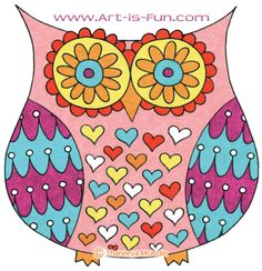 Colorful owl art by Thaneeya McArdle: Gallery of whimsical cute owl art filled with fun groovy designs and patterns. Drawing Lessons, Art Lessons, Drawing For Kids, Art For Kids, Eiffel Tower Drawing, Easy Coloring Pages, Whimsical Owl, Easy Drawings, Owl Drawings
