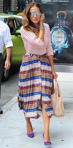 Happy 49th Birthday, Sarah Jessica Parker! See Her Most Stylish Looks Ever - Striped Shirt and Skirt, 2014 - from InStyle.com