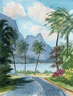 Artist Jeanine Malaney display the watercolor painting Hanalei Bay A celestial wonder Watercolor Landscape Paintings, Watercolor Trees, Watercolor Animals, Watercolor Background, Abstract Watercolor, Watercolor Tattoo, Beach Watercolor, Watercolor Landscape Tutorial, Watercolor Kit