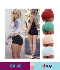 f7c0fa43a12 Women s Sports Shorts Pants Gym Workout Waistband Skinny Yoga Short Pants  Us  ebay  Fashion