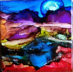 """Alcohol ink landscape  on ceramic tile """"Twilight Moon"""""""