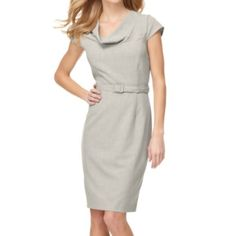 Calvin Klein belted, cowl neck sheath dress, gray Light gray, cowl neck sheath dress Calvin Klein Dresses Midi