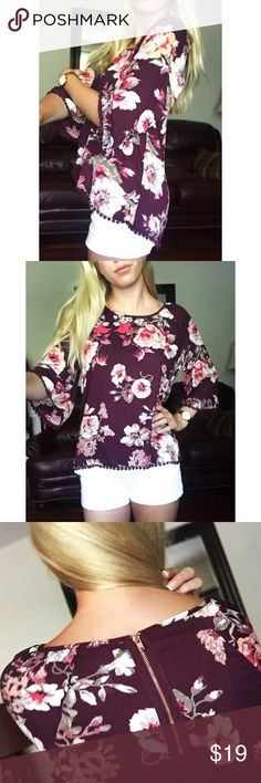 Xhilaration Floral Patterned Hi-Lo Blouse This beautiful blouse is perfect for all seasons and can be dressed up or down easily! So versatile and so comfy. EUC, only worn twice. Xhilaration Tops Blouses