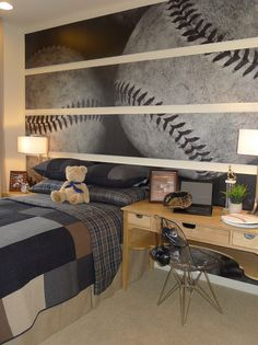 Awesome Baseball Bedroom Mural - EDbyS