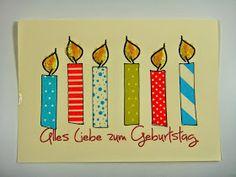 Geburtstagskarte mit Masking-Tape Kerzen (Diy School Washi Tape)