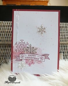 Magical Scrapworld: Happy christmas, colorful season (winter), berry burst, cards, christmas, christmas pines, colorful seasons, fresh fig,  powder pink, Seasonal bells, Stampin' Up!, work of art