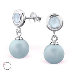 Stylish mate light blue #Swarovski hanging pears in 925 silver #earStuds, made by #ELF925