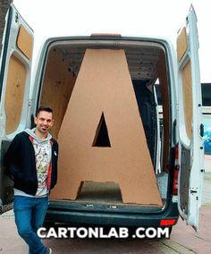 Letras corporeos carton ART feria arte Art Madrid diseñados por Cartonlab. Cardboard corporeal lettres Art Madrid Fair designed by Cartonlab.
