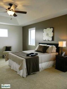 One Dark Neutral Wall Then Light Colors On Other Walls. Master Bedroom.