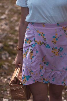 Mini jupe portefeuille trompe l'oeil marine