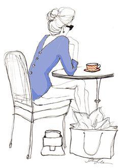 """ Illustration by Inslee By Design "" Illustration Mignonne, Illustration Mode, Coffee Illustration, Coffee Girl, Coffee Love, Coffee Break, Coffee Corner, Moda Chic, Fashion Art"