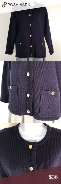 Mark, Fore & Strike Navy Sweater Beautiful thick vintage sweater with gold buttons. Gently used. Mark, Fore & Strike Sweaters