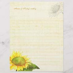 Shop Watercolor Sunflower Wedding Guestbook Lined Paper created by BridalHeaven. Watercolor Sunflower, Tea Stains, Stationery Paper, Wedding Paper, White Elephant Gifts, Wedding Guest Book, Personalized Wedding, Guestbook, Prints