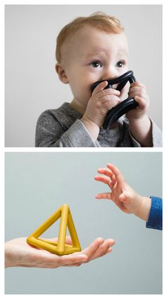 Inspired by basic shapes, Teeny Teethers are geometric rubber toys that help soothe teething gums, foster creative play, and look beautiful in the home. They are easy to grab, safe to chew, and inspiring to the imagination.