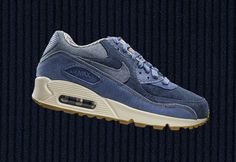 This new women's colorway of the Nike Air Max 90 comes covered in corduroy and denim in a few shades of blue along with a gum rubber outsole.