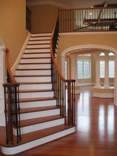 foyer staircase 2 landings | Story Foyer 2 Story Great Room Large Formal Room Curved Staircase ...