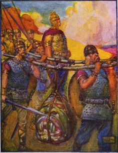"""""""They carried with them the hideous head of Grendel."""" An illustration of 4 men carrying the head of Grendel. Marshall, Henrietta Elizabeth (1908). Stories of Beowulf, 63. T.C. & E.C. Jack. Stories of Beowulf-88.jpg (Photo credit: Wikipedia) Read more here http://earthpages.wordpress.com/2013/03/26/beowulf/"""