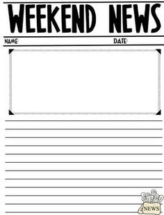 Weekend News! Student Writing Week-by-Week  pocket with clear sheets with each day of the week on them for done cup writing prompts...  monday- weekend news tuesday-  wednesday- story with alternate ending thursday- reaction story Friday-