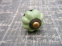 ceramic drawer pull, vintage look cabinet hardware,  celedon green, via Etsy.