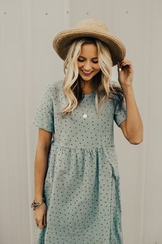 Sage Blue Woven Dress Keyhole Back w/Button Closure Embroidered Navy Stitches Subtle Woven Plaid Detail Patch Pockets at Waist Half Sleeve Length Fully Lined Body Round Neckline Gathered Waist View Size Chart