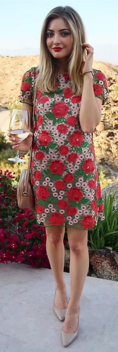 "#summer #outfits Calling This My ""Garden Party"" Dress  Only $160 And Seriously The Prettiest. You Need To See The Embroidered Roses Up Close!"