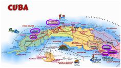Map of Cuba indicating the highlights of the Walking Holiday in Cuba