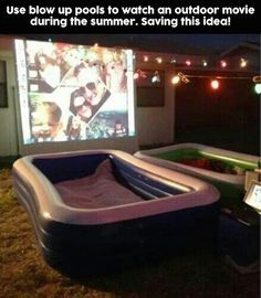 is another fun idea for summer nights. Use blow up pools to watch movies ou., This is another fun idea for summer nights. Use blow up pools to watch movies ou., This is another fun idea for summer nights. Use blow up pools to watch movies ou. Backyard Movie Nights, Outdoor Movie Nights, Outdoor Movie Party, Backyard Movie Party, Outdoor Movie Screen, Outdoor Theater, Movie Projector Outdoor, Projector Ideas, Outdoor Cinema