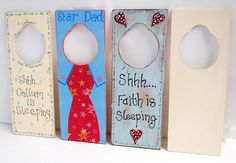 Door Hanger Sign.  Handpainted, personalised, shabby chic style plaques.  Ideal as a Father's Day, Mother's Day, New Born Baby gift idea.  Paint on our wooden blanks.