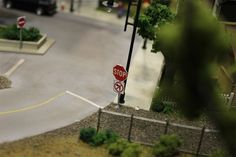 model railroad city scenery | Printed street sign mounted on styrene