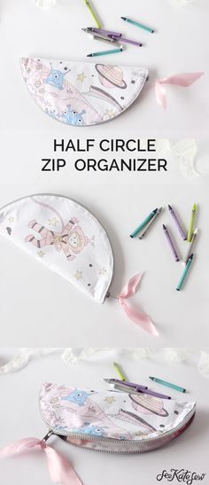 DIY: half circle zip pouch