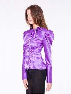 Shiny Purple Satin Blouse