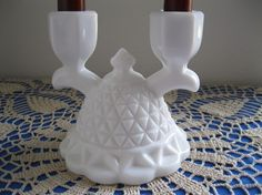Vintage Imperial Milk Glass Double Candle by GotMilkGlassAndMore, $8.99