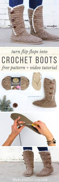 Learn how to make UGG-style crochet boots with flip flop soles in Part 1 of this free crochet pattern and video tutorial. Excellent slippers or shoes! Sie Hausschuhe Flip Flop Crochet Boots With Flip Flop Soles - Free Pattern + Video Love Crochet, Diy Crochet, Crochet Crafts, Crochet Projects, Learn Crochet, Crochet Ideas, How To Crochet Socks, Tutorial Crochet, Beautiful Crochet