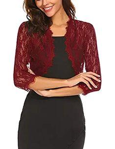 0c4d304a570 Sheroin Women s Lace Shrug Sheer Cropped Bolero Cardigan Jacket