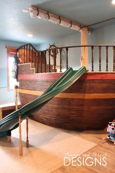 Play room for pull barn. Have it so kids can go inside the ship like a house and play