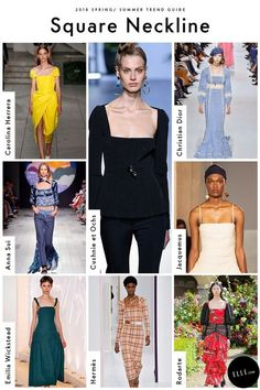 Spring 2018 Trend Report - ELLE.com's Comprehensive Guide To Spring 2018 Trends Square Necklines   GETTY, IMAXTREE, COURTESY OF THE DESIGNER Square up this season with a neckline subtly throwing it back to the Renaissance. Featured at Carolina Herrara, Christian Dior, and Rodarte's first collection shown in Paris, we predict the flattering style to appear as dainty cotton tops, cocktail wiggle dresses, and every style in between.