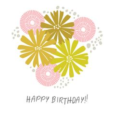 Cute happy birthday printable card.  #printables #cute #flowers #card #birthday