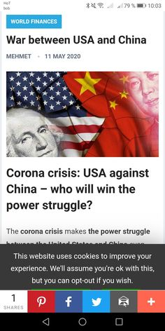 The corona crisis makes the power struggle between the United States and China even clearer, more obvious. Now we can definitely say there is a power war. World Finance, Economic Problems, Who Will Win, Great Power, Financial Markets, Super Powers, Stock Market, Improve Yourself, War